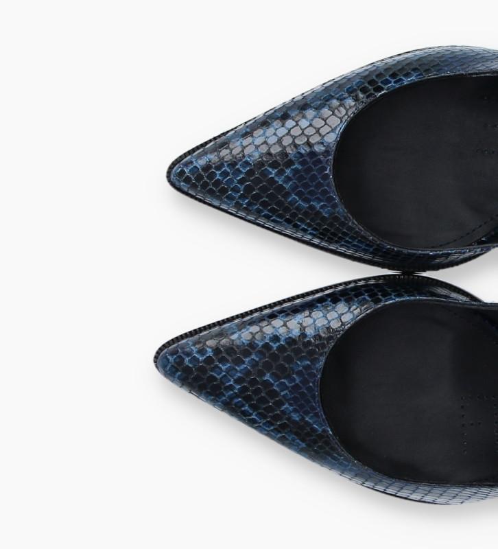 Eshop FREE LANCE Sling-back pump with stiletto heel JAMIE 7 - Snake Print - Navy blue