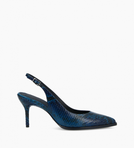 Sling-back pump with stiletto heel JAMIE 7 - Snake Print - Navy blue