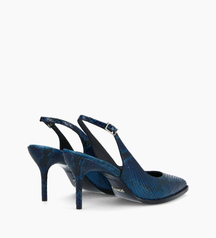 FREE LANCE Sling-back pump with stiletto heel JAMIE 7 - Snake Print - Navy blue