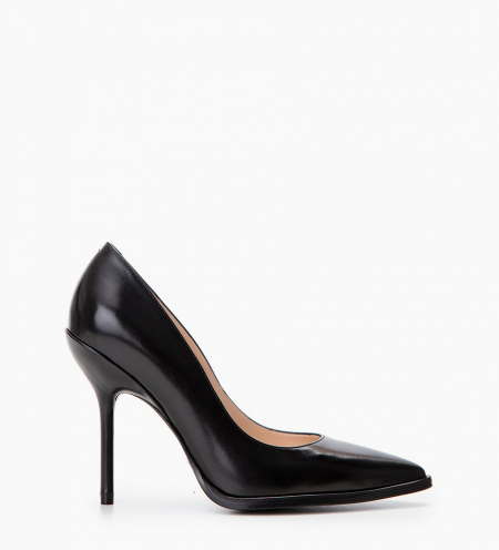 Pump with pointed toe and stiletto heel JAMIE 10 - Smooth calf leather - Black