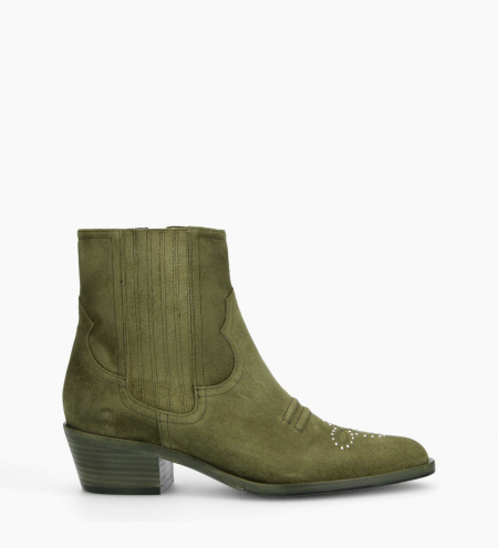 Bottine western chelsea cloutée JANE 5 - Cuir velours - Vert
