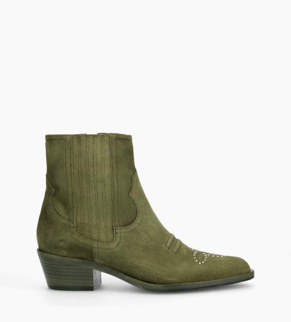 Western studded Boot JANE 5 - Suede - Khaki