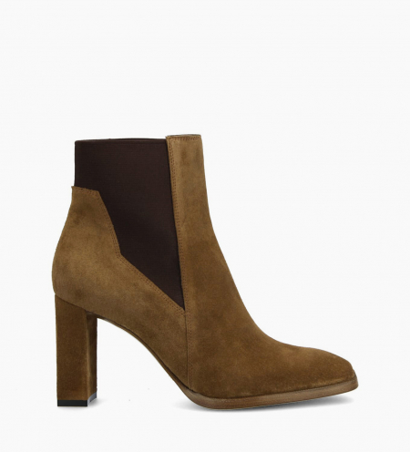 Heeled chelsea boot ZOEY 8 - Suede - Cigar