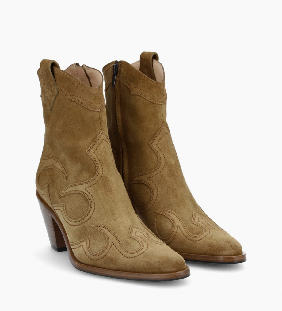 Western ankle boot JANE 7 - Suede - Cigar