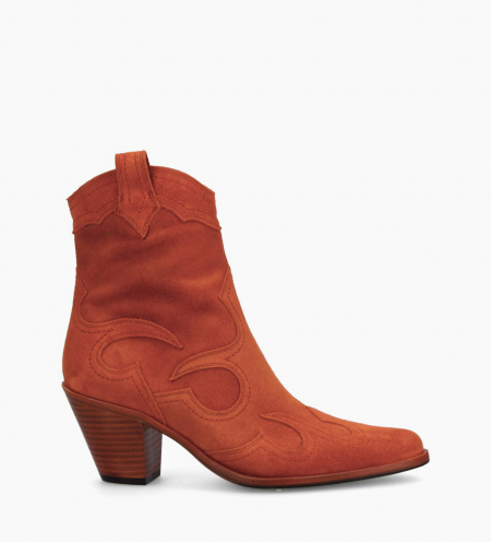 Bottine western à talon JANE 7 - Cuir velours - Orange