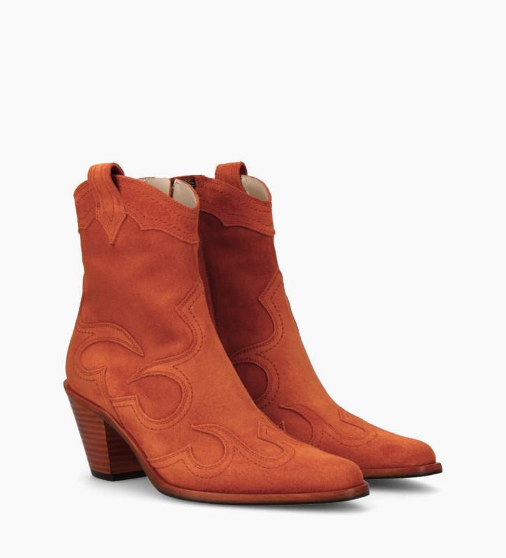 FREE LANCE Bottine western à talon JANE 7 - Cuir velours - Orange