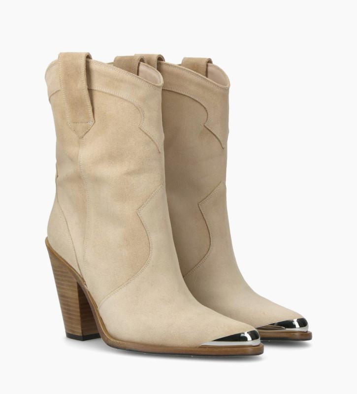 FREE LANCE Santiag heeled boot JANE 9 - Suede - Nude