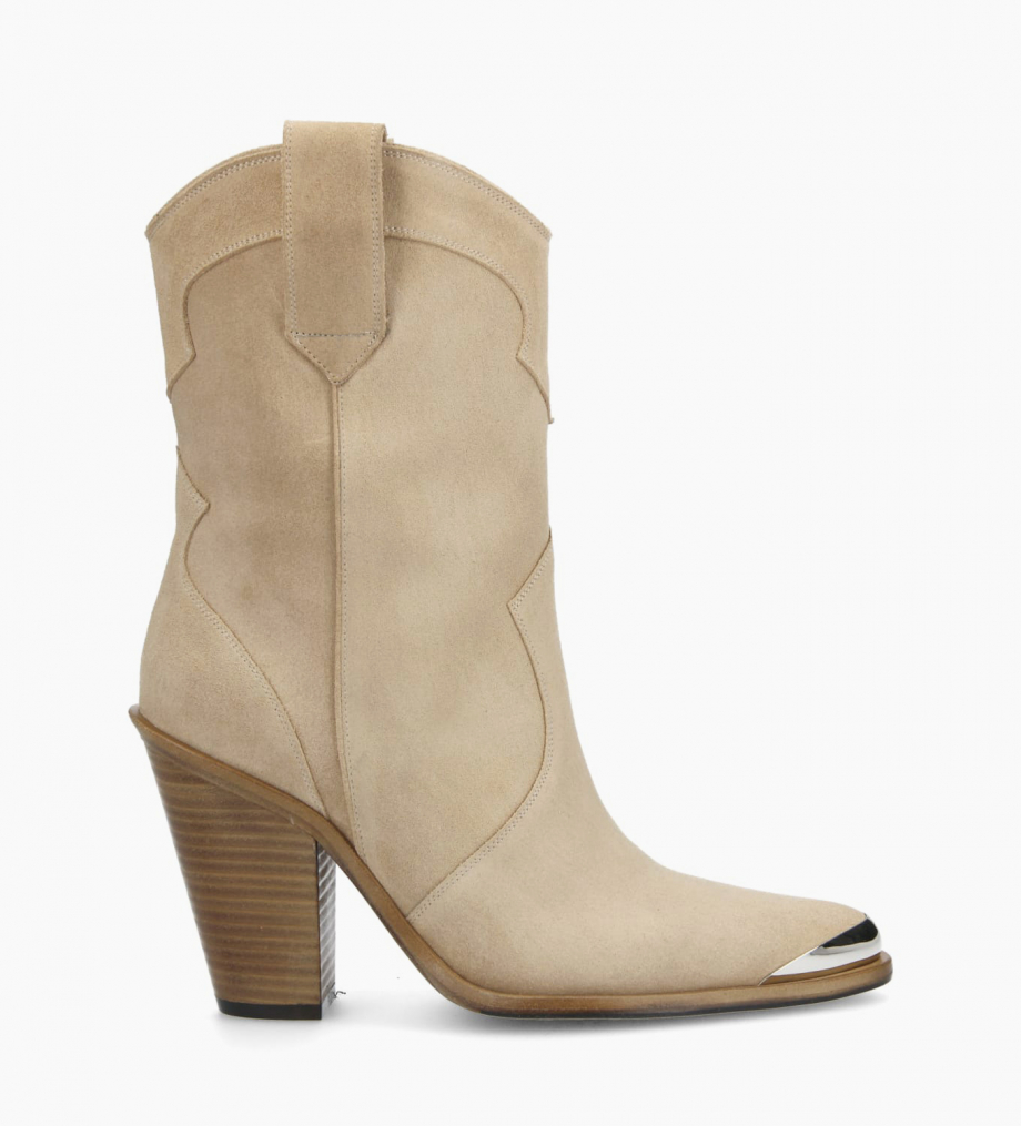 Bottine santiag à talon JANE 9 - Cuir velours - Beige