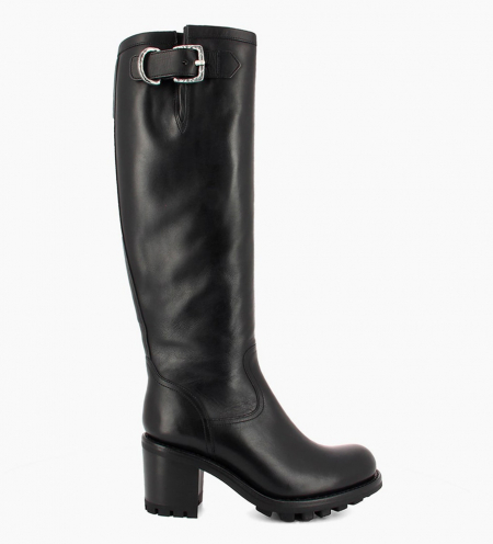 Biker high boot with zip and buckle JUSTY 7 - Smooth leather - Black
