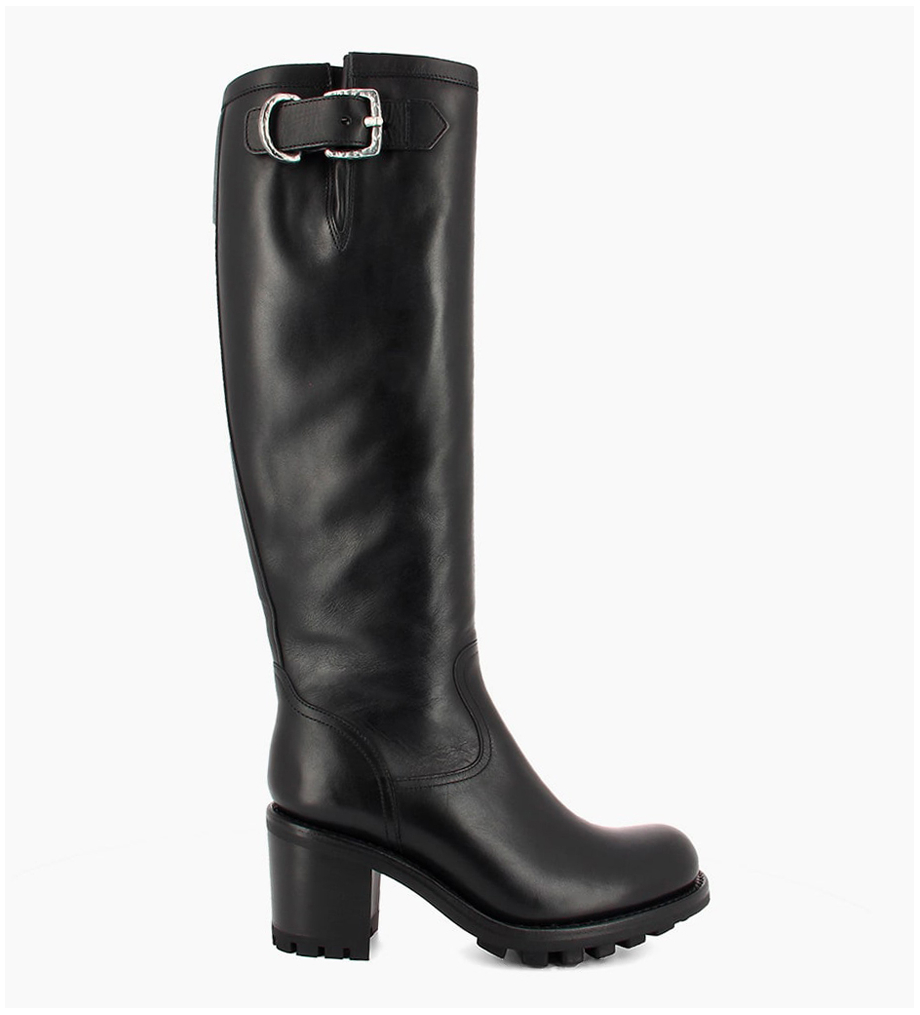 FREE LANCE Biker high boot with zip and buckle JUSTY 7 - Smooth leather - Black