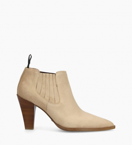Chelsea heeled boot MARY 7 - Suede - Nude