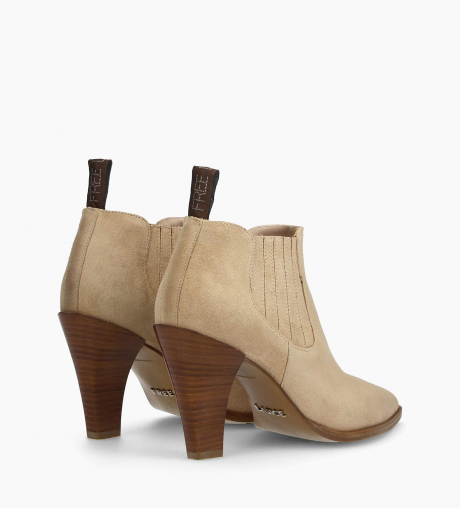 FREE LANCE Chelsea heeled boot MARY 7 - Suede - Nude