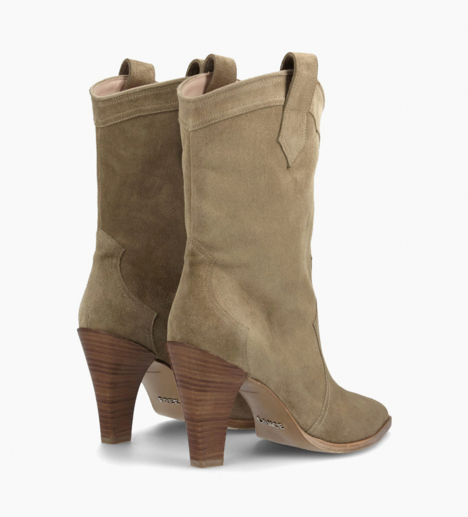 Santiag heeled boot MARY 7 - Suede - Taupe