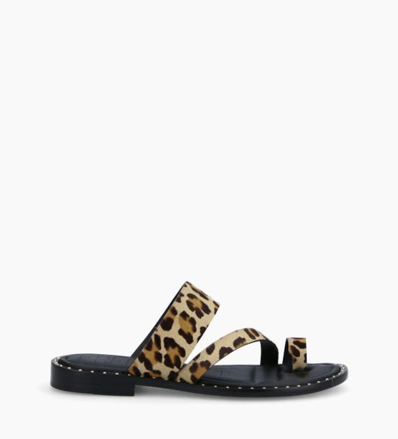 Flat toe loop sandal STUDY - Ponyskin-effect calf leather - Leopard