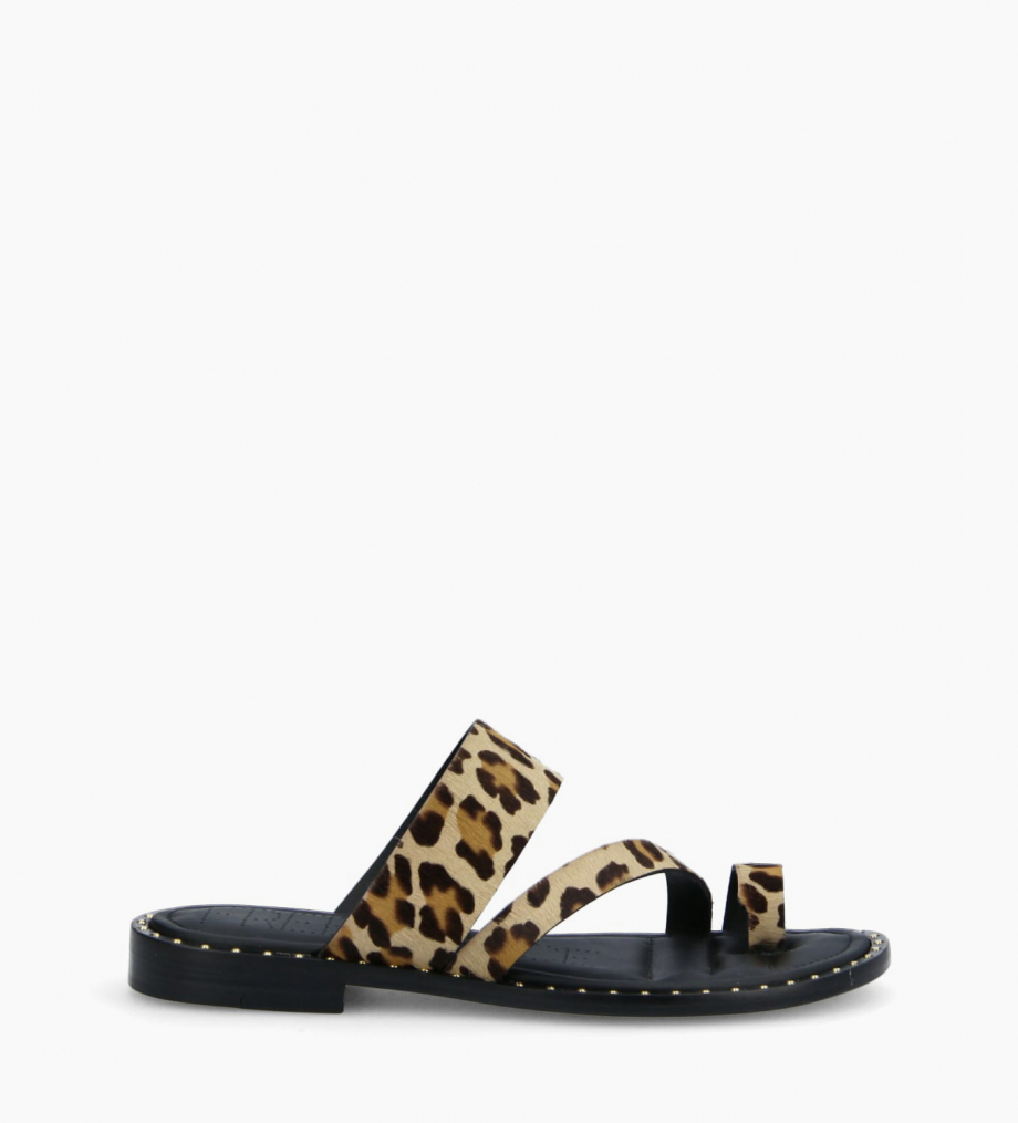 FREE LANCE Flat toe loop sandal STUDY - Ponyskin-effect calf leather - Leopard