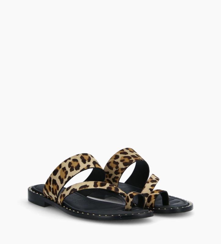 FREE LANCE Flat toe loop sandal STUDY - Ponyskin-effect calf leather - Leopard