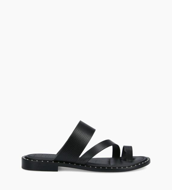 Flat toe loop sandal STUDY - Lizard Print - Black