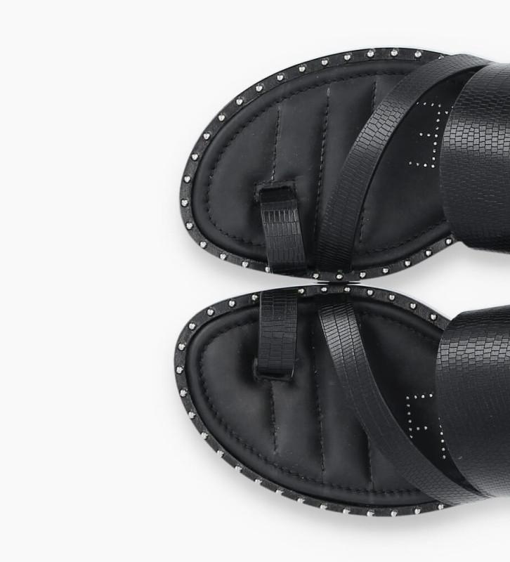 FREE LANCE Sandale entre doigts plate STUDY - Cuir imprimé lézard - Noir