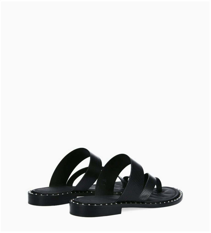FREE LANCE Flat toe loop sandal STUDY - Lizard Print - Black