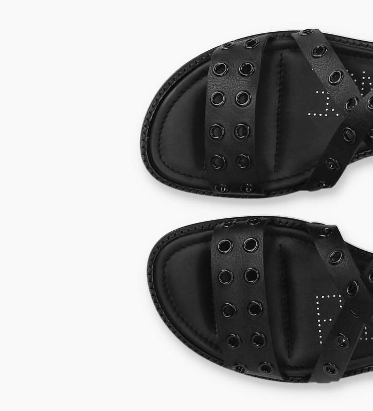 FREE LANCE Sandale plate à œillets LENNIE - Cuir de veau mat - Noir