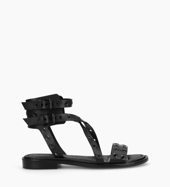 Flat sandal LENNIE - Matt calf leather - Black