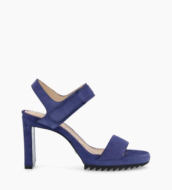 Velcro heeled sandal KNIFE 7 - Suede - Royal Blue