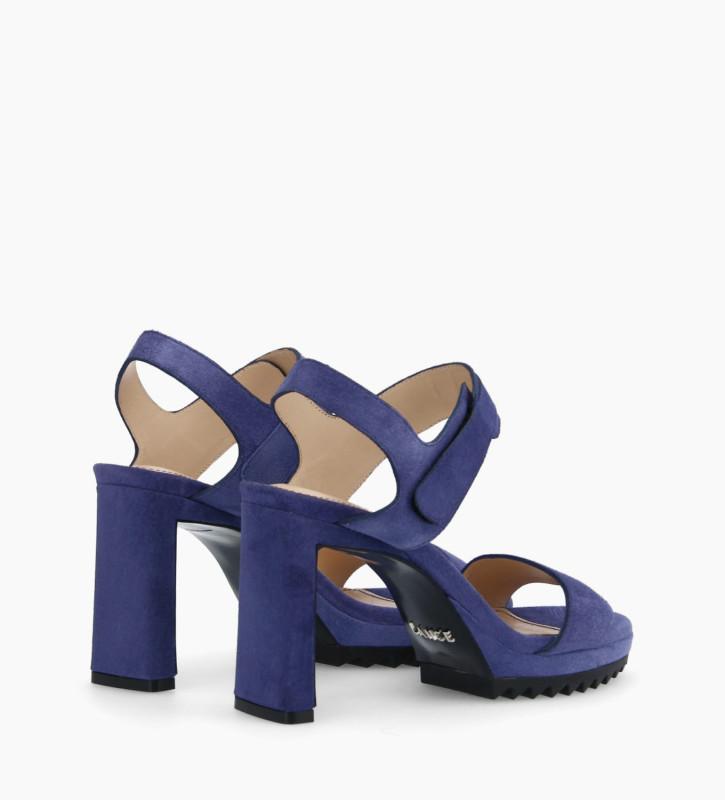 FREE LANCE Velcro heeled sandal KNIFE 7 - Suede - Royal Blue
