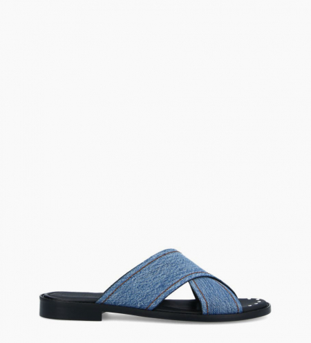 Mule with crossed straps LENNIE - Recycled jeans - Blue