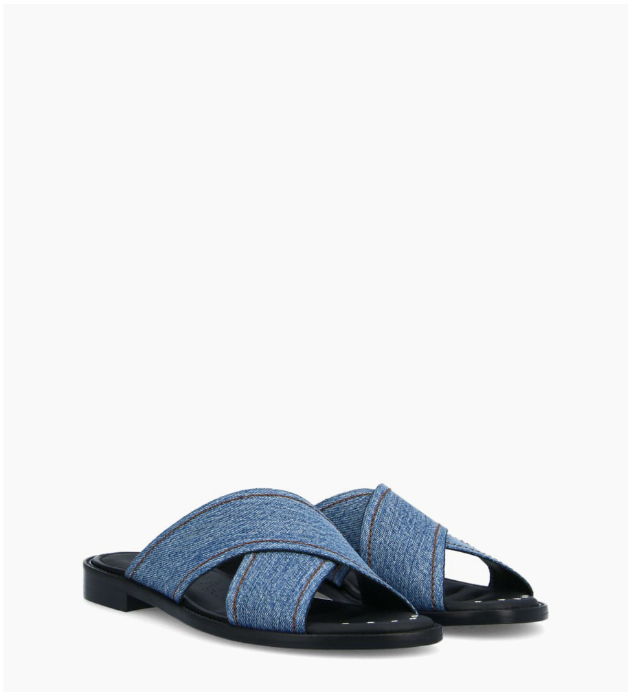 FREE LANCE Mule with crossed straps LENNIE - Recycled jeans - Blue