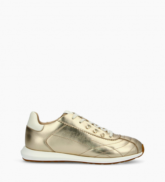 Sneaker MAIVA - Cuir lisse/Cuir grainé - Or/Blanc