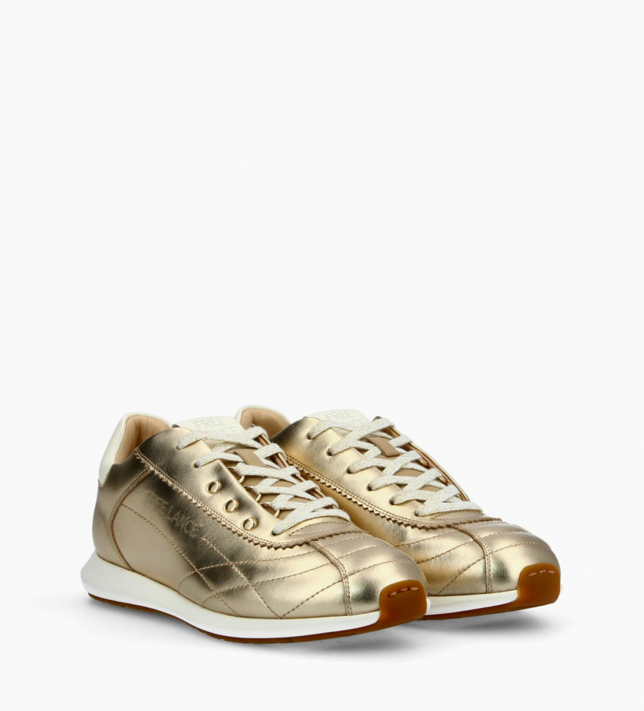FREE LANCE Sneaker MAIVA - Smooth leather/Grained leather - Gold/White