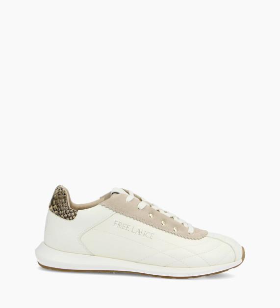 Sneaker MAIVA - Cuir grainé/Cuir imprimé serpent - Blanc/Beige