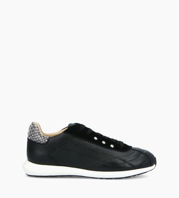 Sneaker MAIVA - Cuir grainé/Cuir imprimé serpent - Noir/Gris
