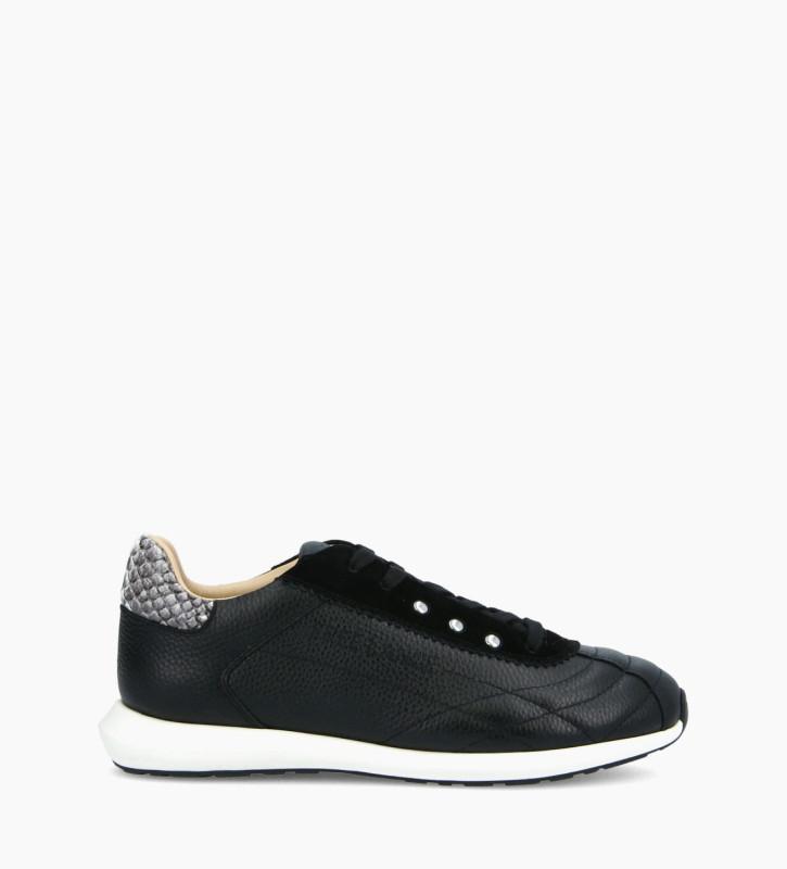 FREE LANCE Sneaker MAIVA - Cuir grainé/Cuir imprimé serpent - Noir/Gris