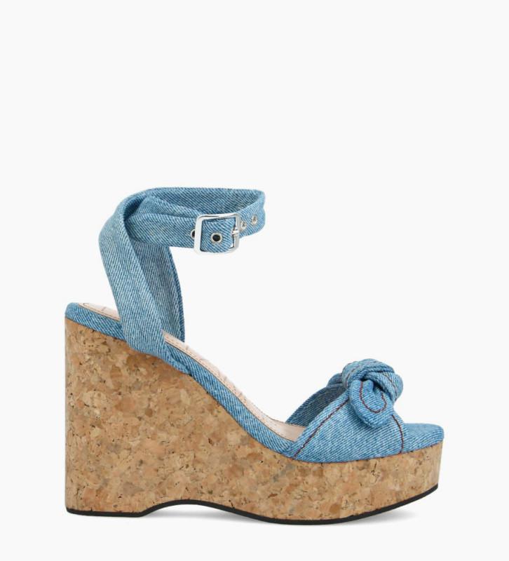 FREE LANCE Sandale compensée TINA 7 - Jeans recyclés - Bleu