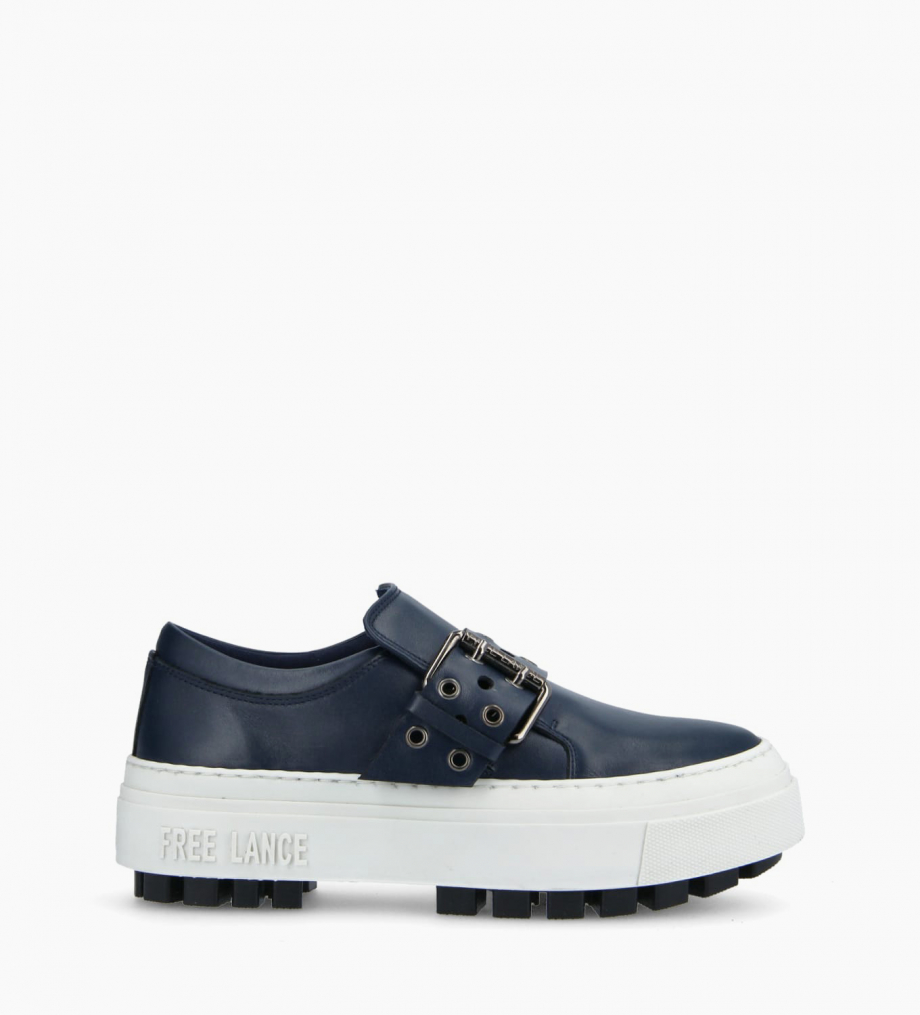 FREE LANCE Sneaker slip on à boucle NAKANO - Cuir lisse - Marine