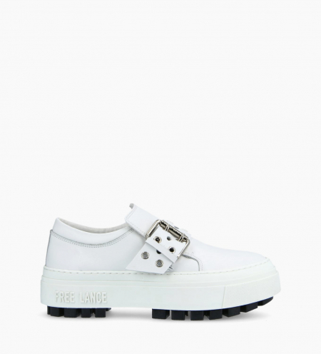 Buckle slip on sneaker NAKANO - Smooth Calskin - White