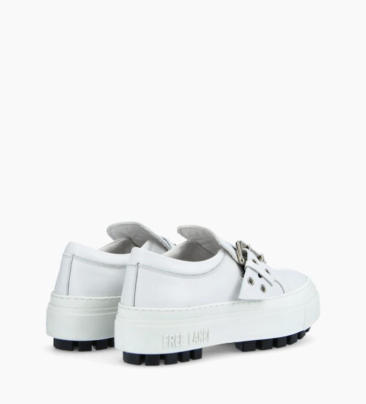 FREE LANCE Buckle slip on sneaker NAKANO - Smooth Calskin - White
