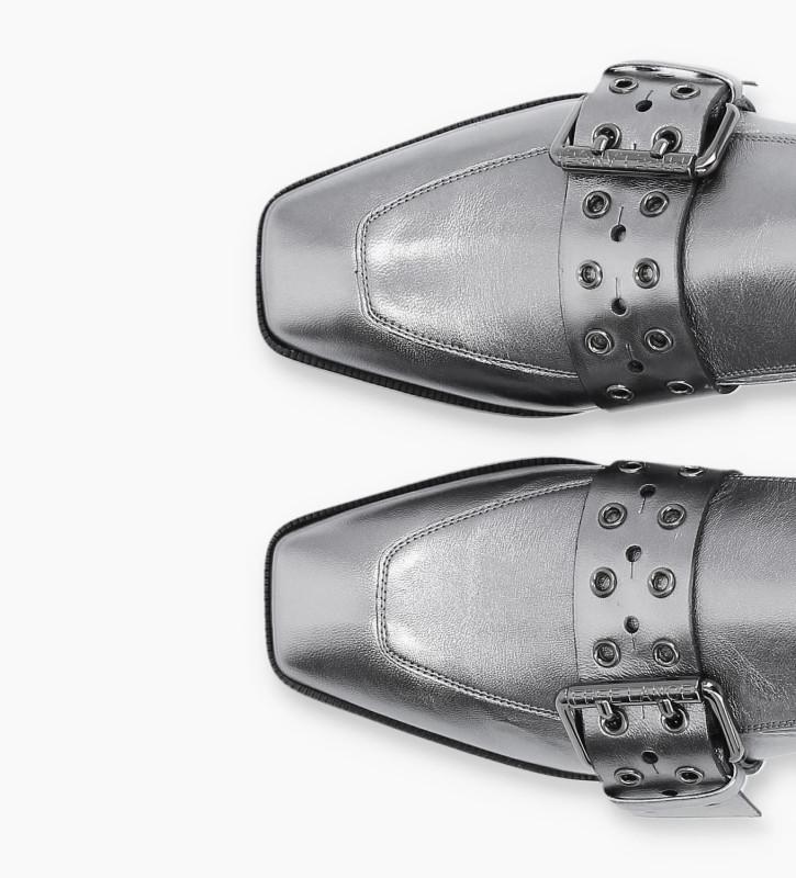 FREE LANCE Buckle slipper JULY - Metallic Leather - Gun Metal