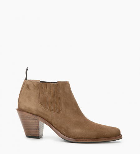 Chelsea boot with bevelled heel JANE 7 - Suede leather - Brown