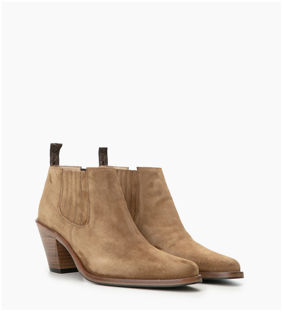 FREE LANCE Chelsea boot with bevelled heel JANE 7 - Suede leather - Brown