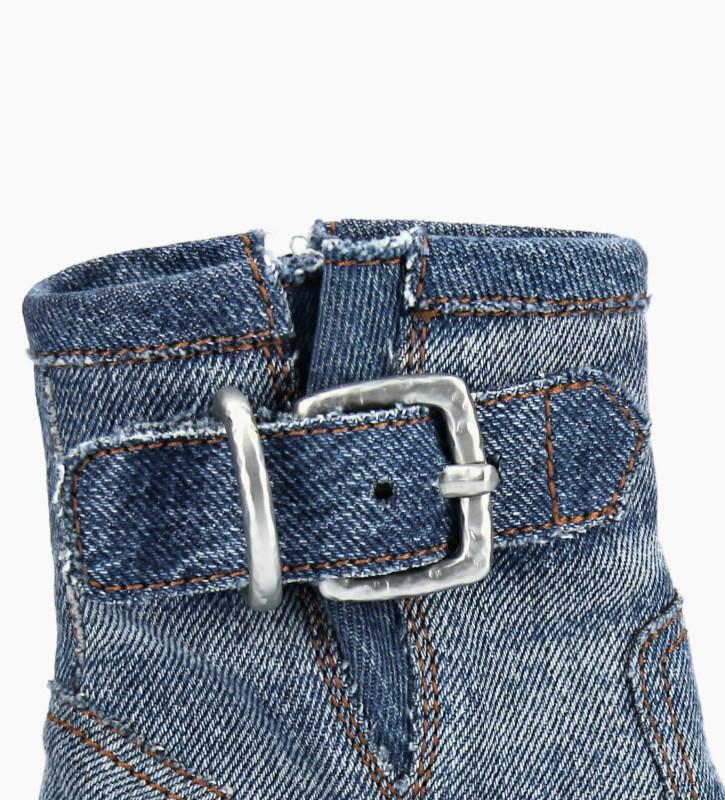 FREE LANCE Boot biker à boucle JUSTY 9 - Jeans recyclés - Bleu