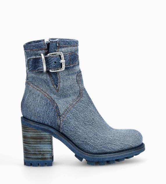 Boot biker à boucle JUSTY 9 - Jeans recyclés - Bleu