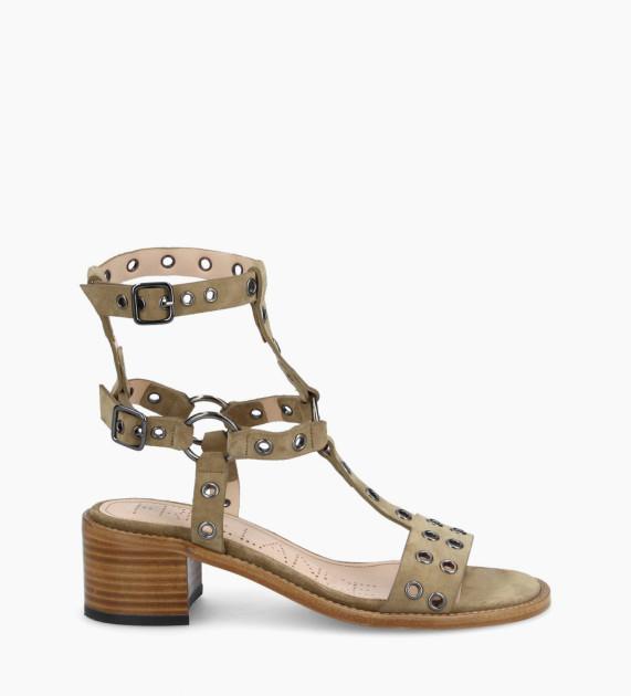 Harness heeled sandal LENNIE 5 - Suede - Taupe
