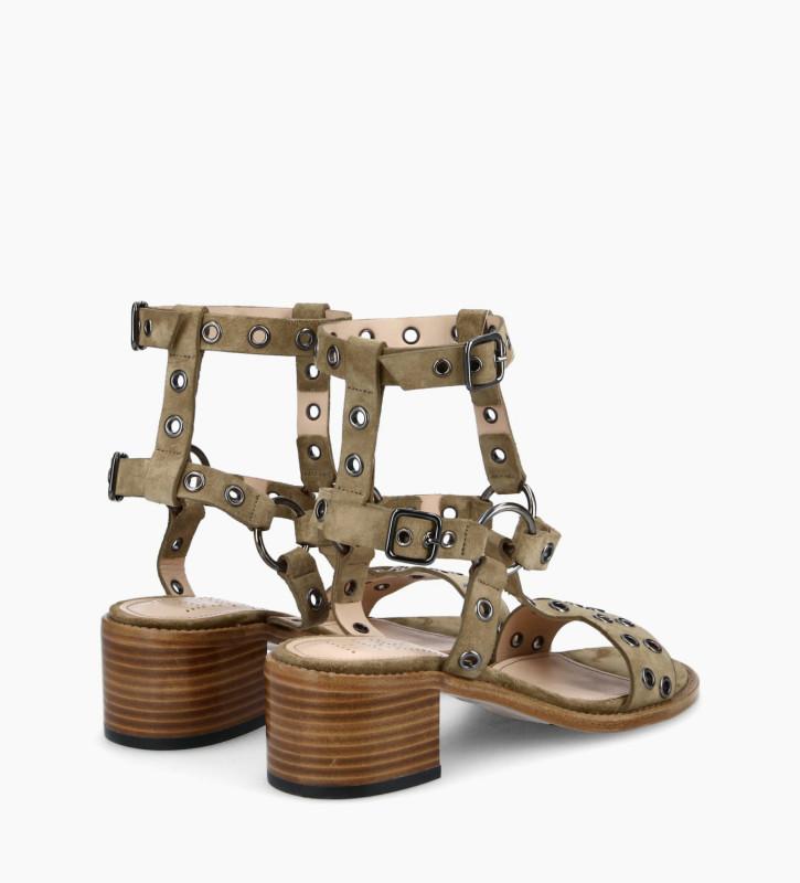 FREE LANCE Sandale harnais à talon LENNIE 5 - Cuir velours - Taupe