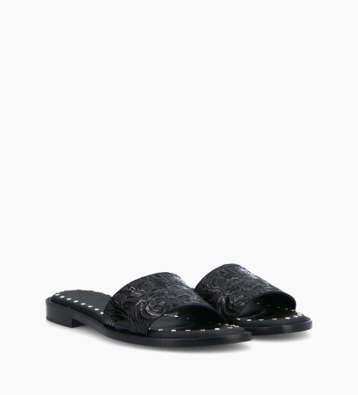 FREE LANCE Sandale plate LENNIE - Cuir embossé à motifs fleuris - Noir