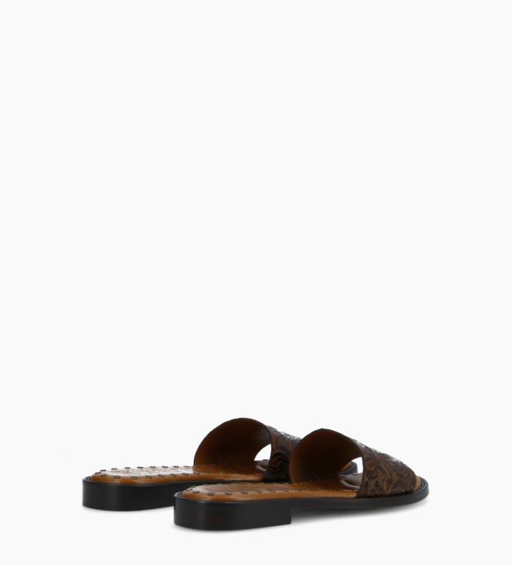 FREE LANCE Sandale plate LENNIE - Cuir embossé à motifs fleuris - Marron