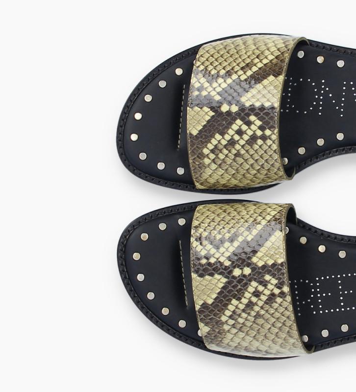 FREE LANCE Sandale plate LENNIE - Cuir imprimé serpent - Beige