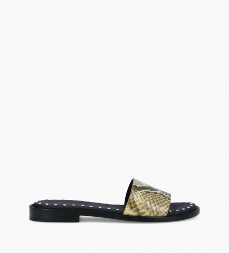 Flat sandal LENNIE - Snake print leather - Beige