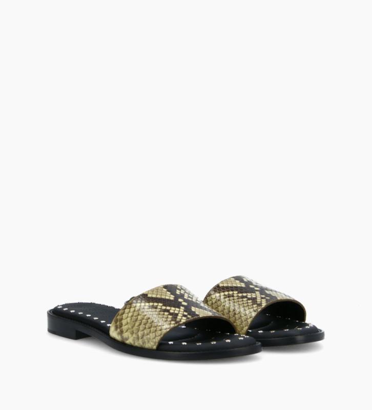 FREE LANCE Flat sandal LENNIE - Snake print leather - Beige